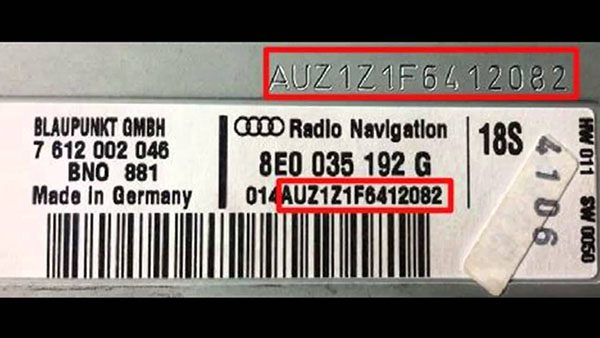 Audi car radio serial number