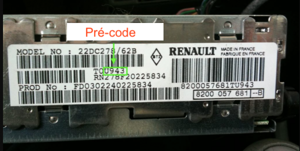 precode with Renault disassembly