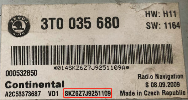 Skoda car radio serial number